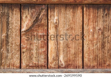 old weathered wood panel with cracking wood grain and fading stain - stock photo