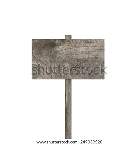 Old weathered wood sign isolated - stock photo