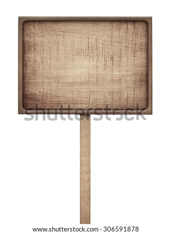 Old weathered wooden  sign - stock photo