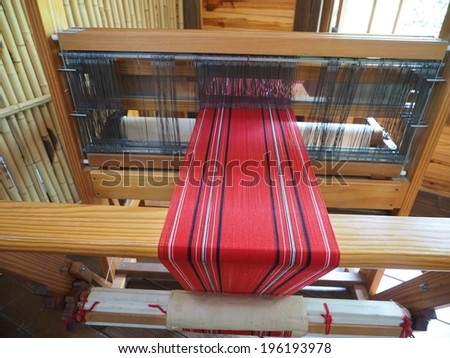 Old weaving loom - stock photo