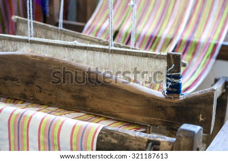 Old weaving loom cotton