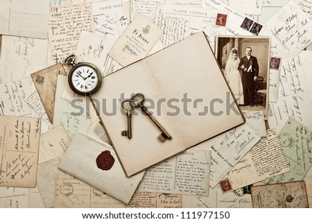 old wedding photo, letters and post cards. nostalgic vintage background - stock photo