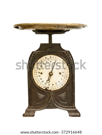 old weighing scales isolated - stock photo
