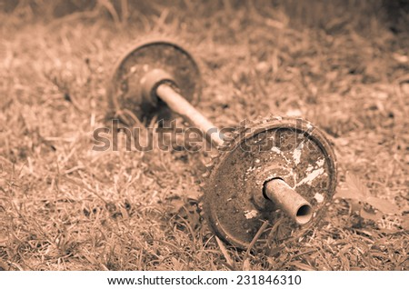 Old Weight dumbbell  - stock photo