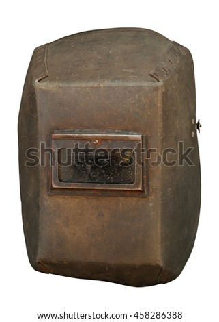 Old welder mask isolated on white - stock photo