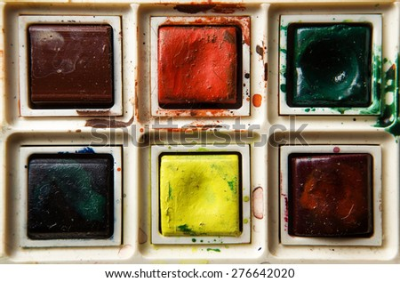 old well used artist watercolour paints set - stock photo