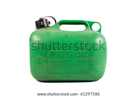 Old well Used Green Petrol Gasoline Can Isolated on White Background - stock photo