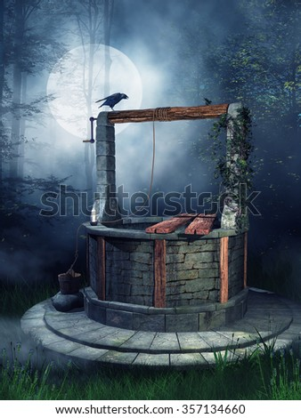 Old well with a raven in the forest at night