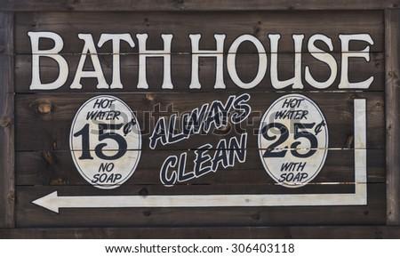 Old West Bathhouse Sign - stock photo
