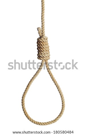 Old West Hang Mans Noose Isolated on White Background. - stock photo