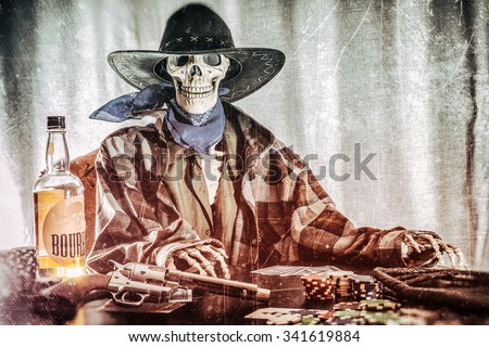 Old West Poker Skeleton Bourbon Gun. Old west bandit outlaw skeleton at a poker table with a pistol and bourbon edited in vintage film style. - stock photo