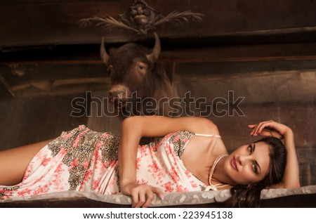 old western saloon scene with brunette lady lounging on bar beneath bison head, with copy space at top - stock photo