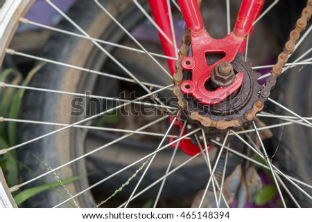Old wheel bicycle in the ground.