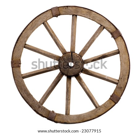 old wheel from a cart on a white background