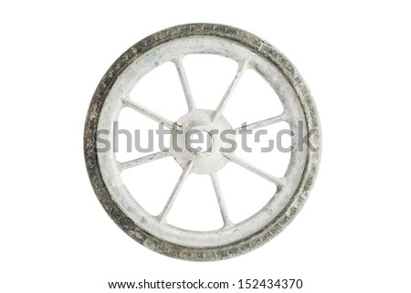 Old wheel isolated on white background