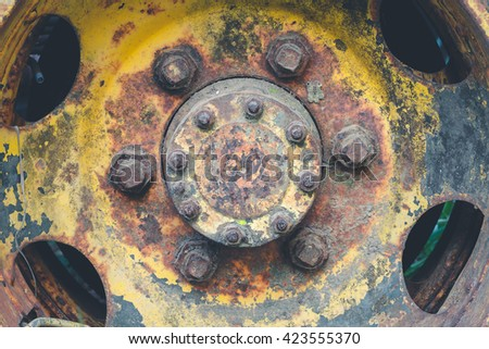 Old wheel truck retro, vintage with rust - stock photo
