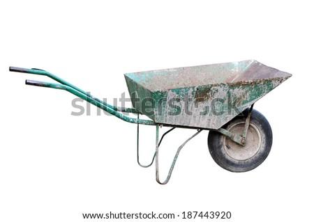 Old wheelbarrow isolated on a white background                                     - stock photo