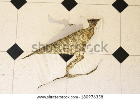 Old white and black speckled linoleum vinyl floor damaged with tears in it with the previous floor seen underneath.  - stock photo