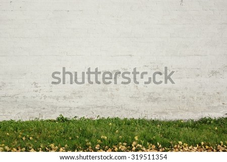 Old White Brick Painted Wall And Green Grass Background Texture - stock photo