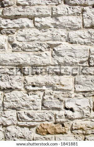 Old white Brick (stone) wall texture