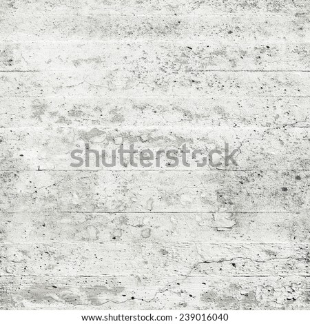 Old white grungy concrete wall, seamless square background texture - stock photo