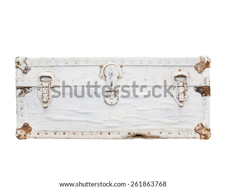 old white leather suitcase with metal locks, isolated