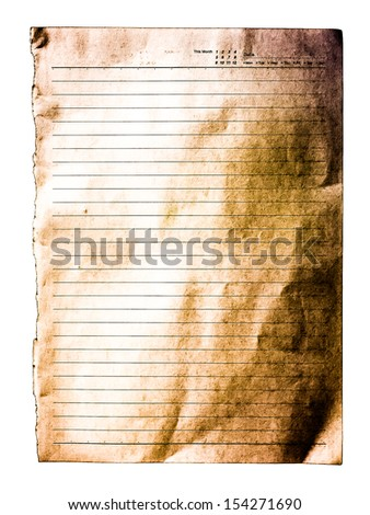 Old white lined paper surface isolated against white background - stock photo