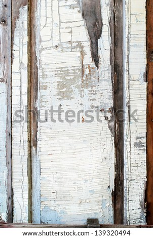 Old White Panel with Cracked Paint, Background - stock photo
