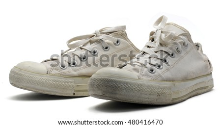old white shoes isolated on white background