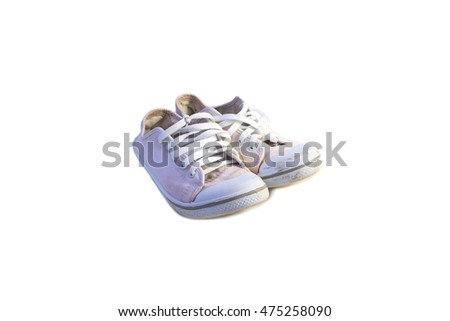 old white sneakers for school  on white background