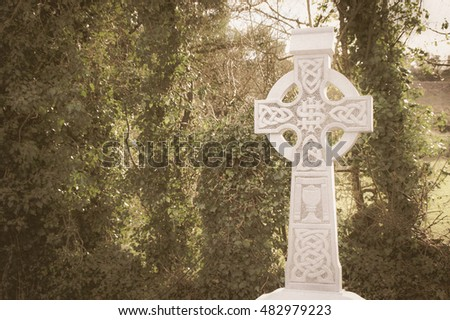 Old White Stone Celtic Cross Background Stock Photo Royalty Free