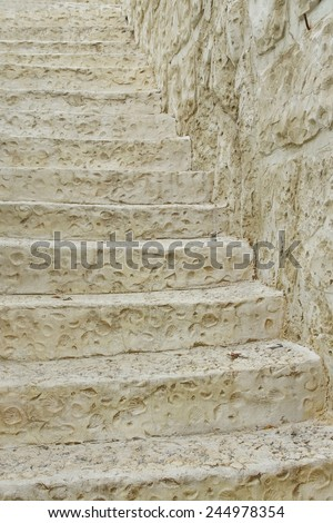 Old White Stone Stairs Background - stock photo