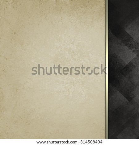 old white vintage paper background with abstract black faded sidebar pattern with elegant classy gold ribbon stripe accent, formal background, blank template for website design or graphic art projects - stock photo