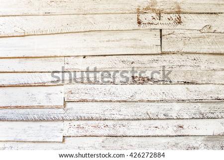 Old white wood planks background - stock photo