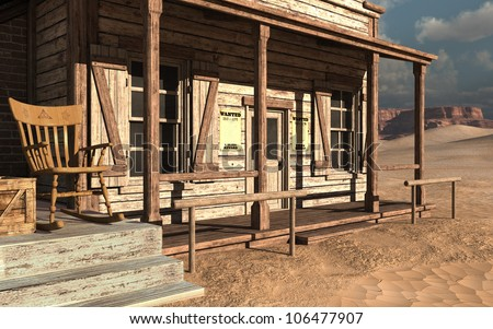 Old wild west building with a wooden chair