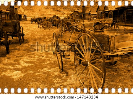 Old wild west (my own artistic version) - stock photo