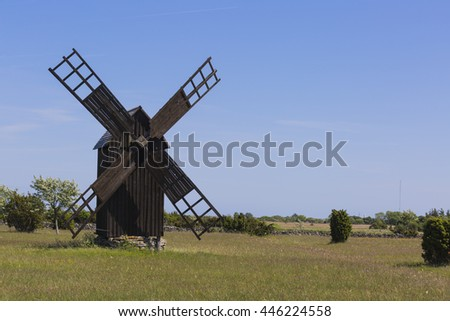 Old wind mill on the island Gotland Sweden in the Baltic sea