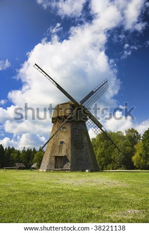 old windmill, a rural landscape