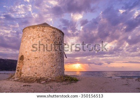 Old windmill ai Gyra Agios Ioannis beach, Lefkada Greece