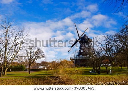 Old windmill in the Kungsparken Park in Malmo, Sweden.