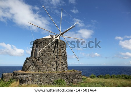 Old windmill on the island of Corvo Azores Portugal - stock photo