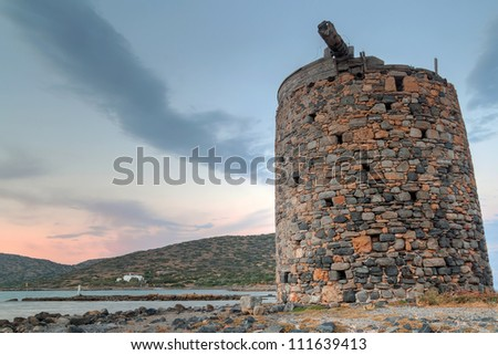 Old windmill ruin on Crete, Greece