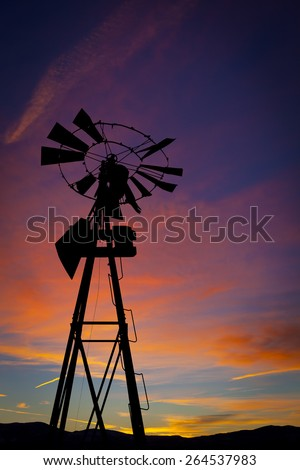 Old Windmill with Sunset Portrait