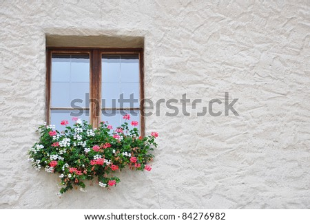 Old window and flowers, Salzburg, Austria