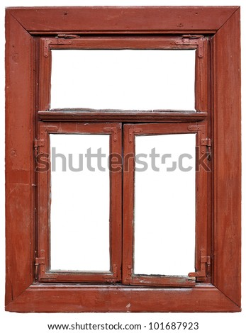 old window frame isolated on white background