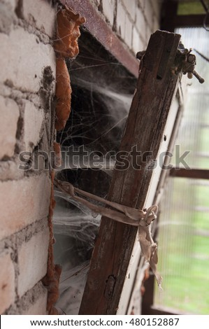 old window frame laced with cobwebs. dilapidated housing