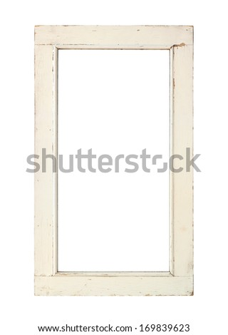 old window frame with clipping path isolated on white background