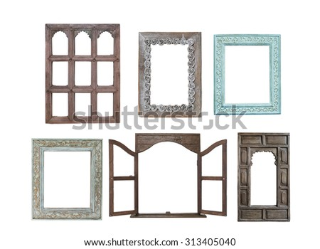 old window frames isolated on white background - stock photo