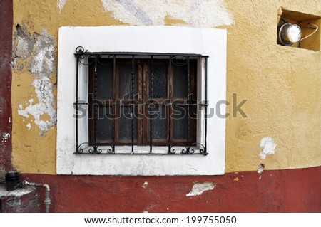 Old window, Front of an old mexican house - San Miguel de Allende Mexico - stock photo