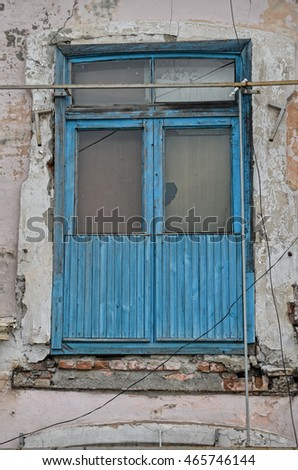 old window in an abandoned house, architectural elements, architecture